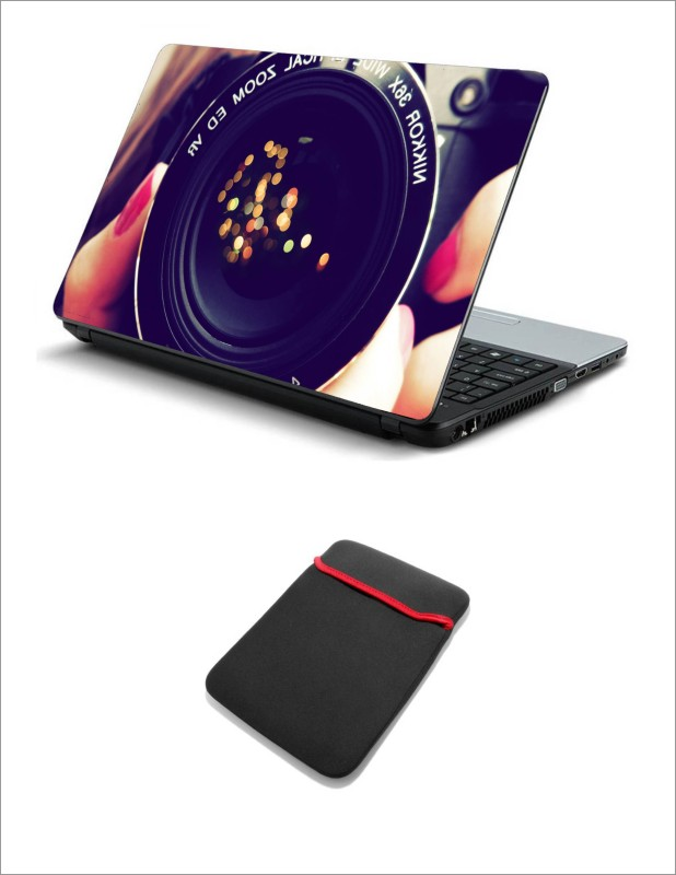 Geek CAMERA LENS GLARE LAPTOP SKIN WITH LAPTOP SLEEVE 15.6 INCH Combo Set(Multicolor)