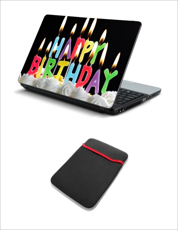 Geek BIRTHDAY CANDLESLAPTOP SKIN WITH LAPTOP SLEEVE 15.6 INCH Combo Set(Multicolor)