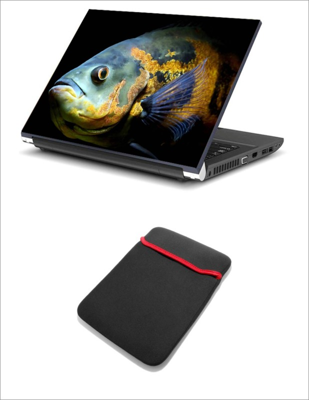 Geek FISH EYE HQ 2in1 LAPTOP SKIN WITH LAPTOP SLEEVE 15.6 INCH Combo Set(Multicolor)
