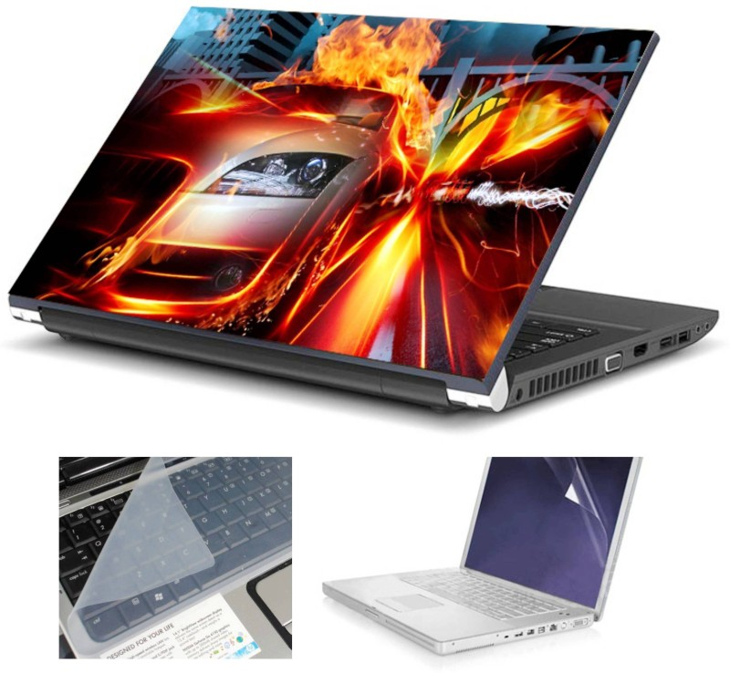Geek HOT CAR HQ 3in1 LAPTOP SKIN WITH LAPTOP SCREEN GUARD and KEY GUARD 15.6 IN Combo Set(Multicolor)