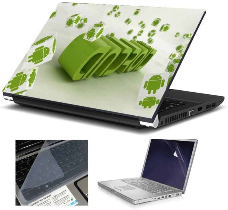 Geek ANDROID HQ 3in1 LAPTOP SKIN WITH LAPTOP SCREEN GUARD and KEY GUARD 15.6 IN Combo Set(Multicolor)
