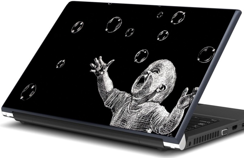 Artifa Baby playing with bubbles Vinyl Laptop Decal 15.6