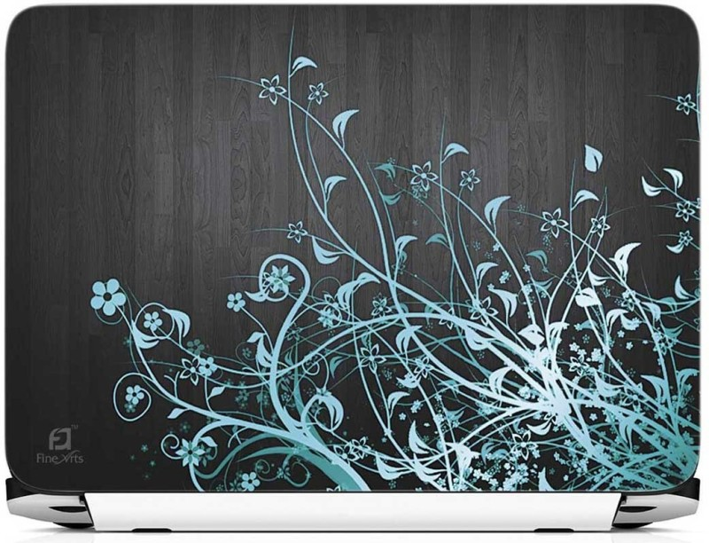 FineArts Abastract Floral Black Wooden Back Vinyl Laptop Decal 15.6