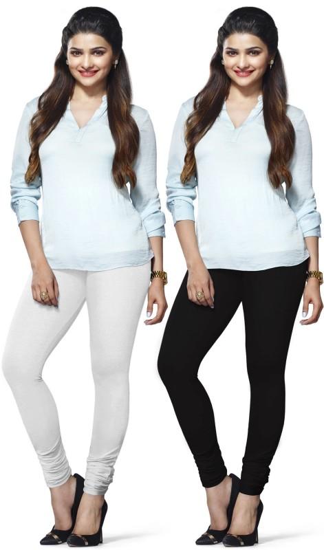 Lux Lyra Women's White, Black Leggings(Pack of 2)