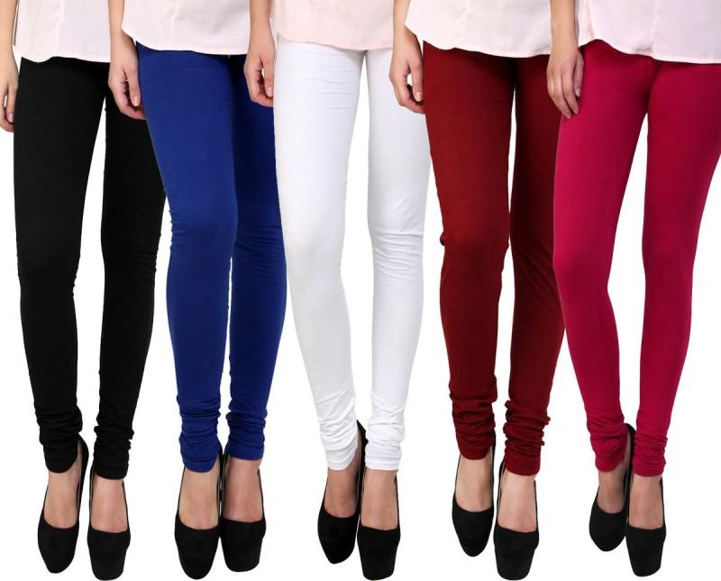 FnMe Women's Multicolor Leggings(Pack of 5)