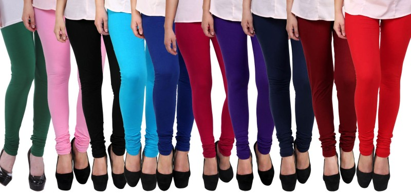 FnMe Women's Multicolor Leggings(Pack of 10)
