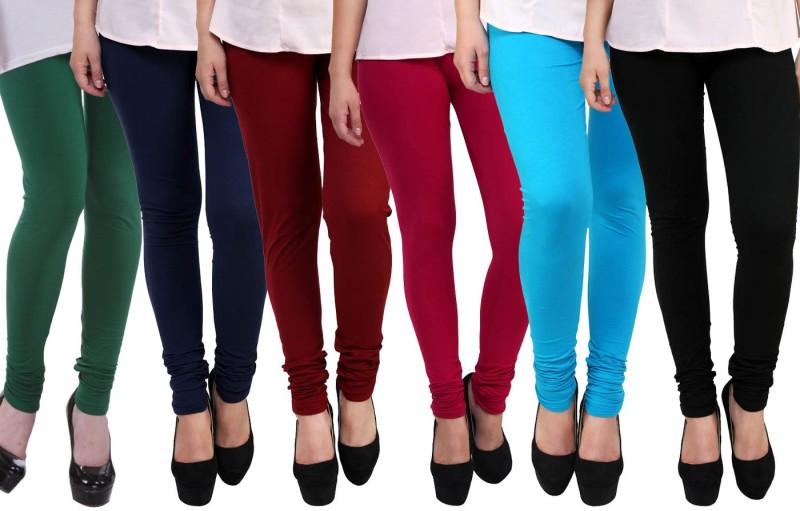 FnMe Women's Multicolor Leggings(Pack of 6)