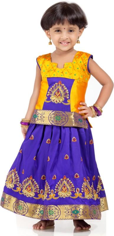Kanakadara Girls Lehenga Choli Ethnic Wear Self Design Lehenga Choli(Yellow, Pack of...
