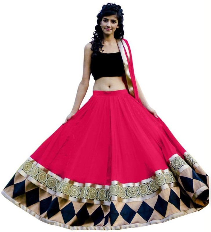 FASHION DIVANA Embroidered Lehenga, Choli and Dupatta Set(Pink)