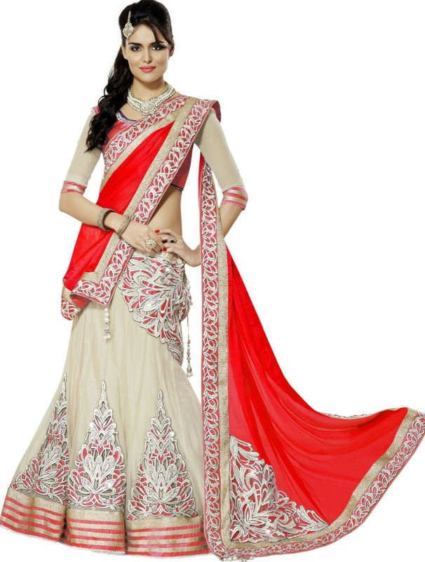 Saree Bazaar Embroidered Women's(Red, Size: Free)