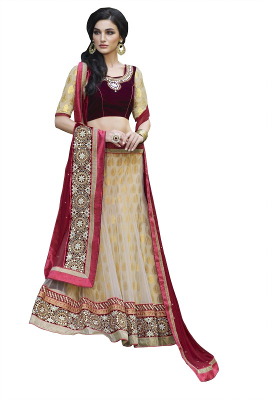 Kvsfab Embroidered Lehenga, Choli and Dupatta Set(Beige)