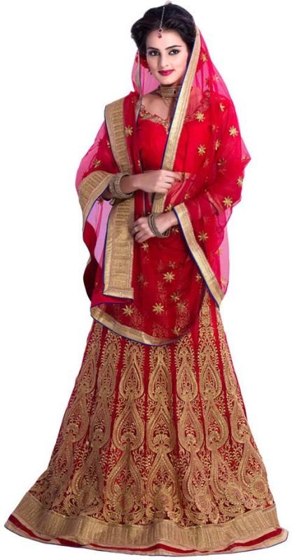 Rudra Fashion Embroidered Lehenga Choli(Red)