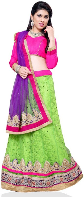 Manvaa Embroidered Lehenga, Choli and Dupatta Set(Green)