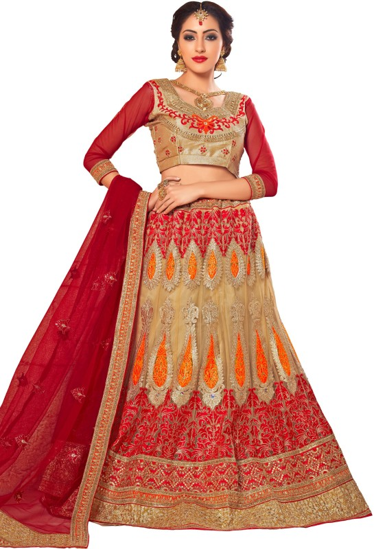 Manvaa Embroidered Lehenga, Choli and Dupatta Set(Beige)