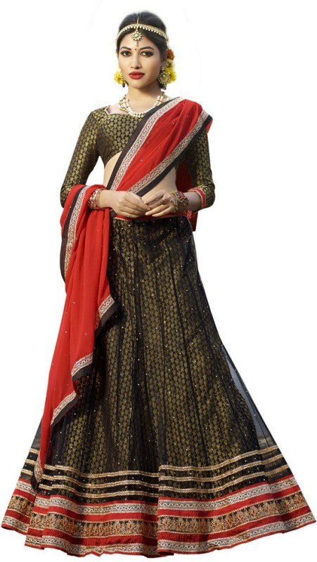 Yosshita & Neha Embroidered Ghagra, Choli, Dupatta Set(Black)