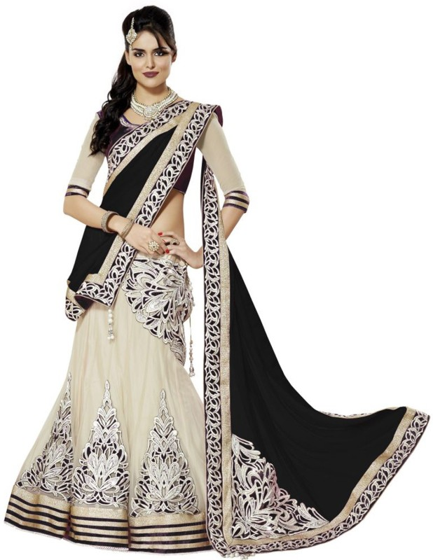 RB Fashion Embroidered Lehenga, Choli and Dupatta Set(Black)