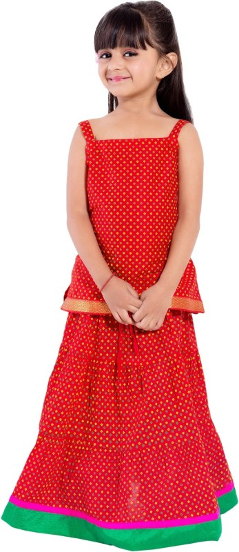 Magnus Girls Lehenga Choli Ethnic Wear Polka Print Lehenga Choli(Multicolor, Pack of...
