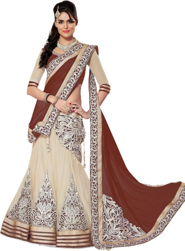 Rjcreation Embroidered Lehenga, Choli and Dupatta Set(Brown)