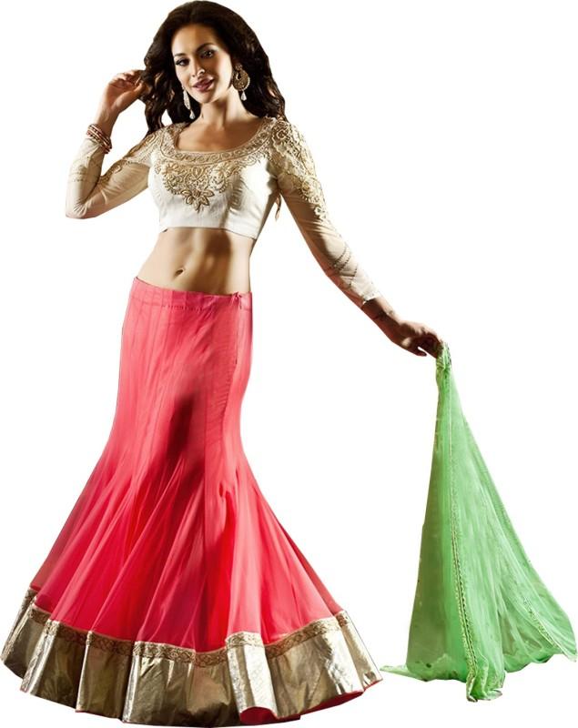 MF Retail Embroidered Lehenga, Choli and Dupatta Set(Pink, White)