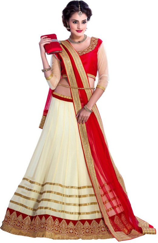 Barodafashion Embroidered Women's Ghagra, Choli, Dupatta Set(Stitched)