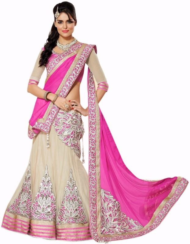 Ecoco Self Design Ghagra, Choli, Dupatta Set(Pink, Beige)