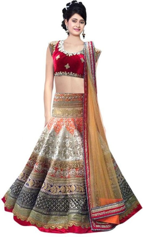 SareeBazaar Embroidered Lehenga, Choli and Dupatta Set(Multicolor)