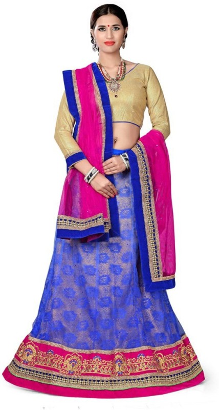 Manvaa Embroidered Lehenga, Choli and Dupatta Set(Blue)