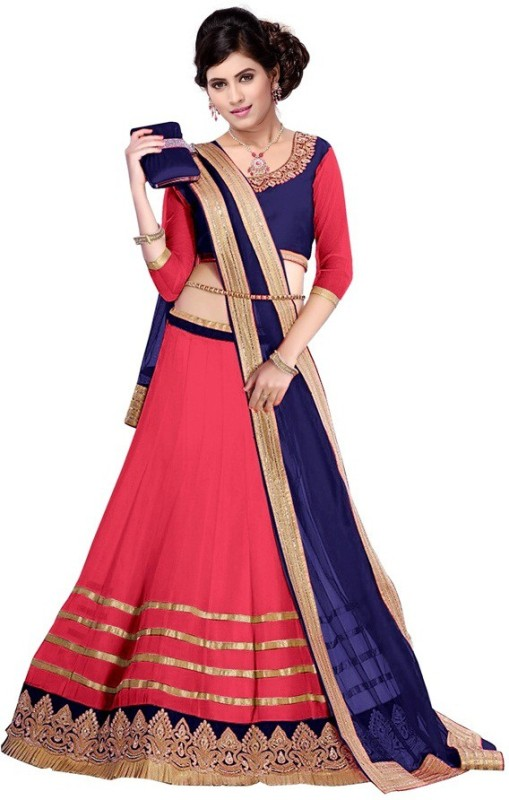 DarkFashion Embroidered Lehenga, Choli and Dupatta Set(Pink)