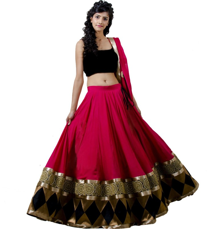 Fstore Embroidered Unstitched Lehenga, Choli and Dupatta Set(Pink)