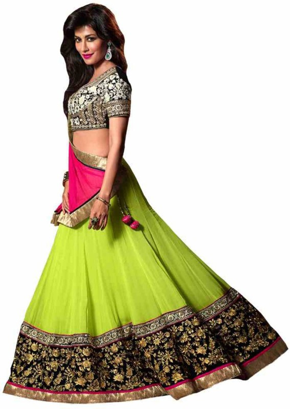 PRN Embroidered Lehenga, Choli and Dupatta Set(Multicolor)