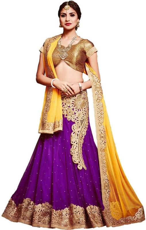 Yosshita & Neha Embroidered Women's(Purple, Size: Free)