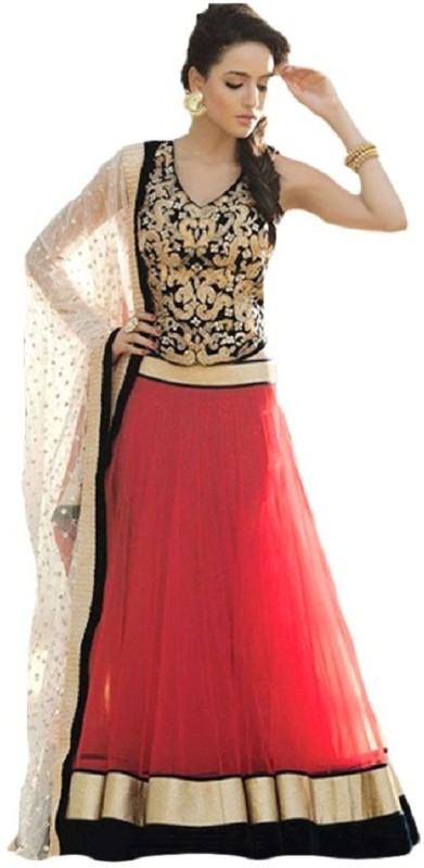 SareeBazaar Embroidered Lehenga, Choli and Dupatta Set(Pink)