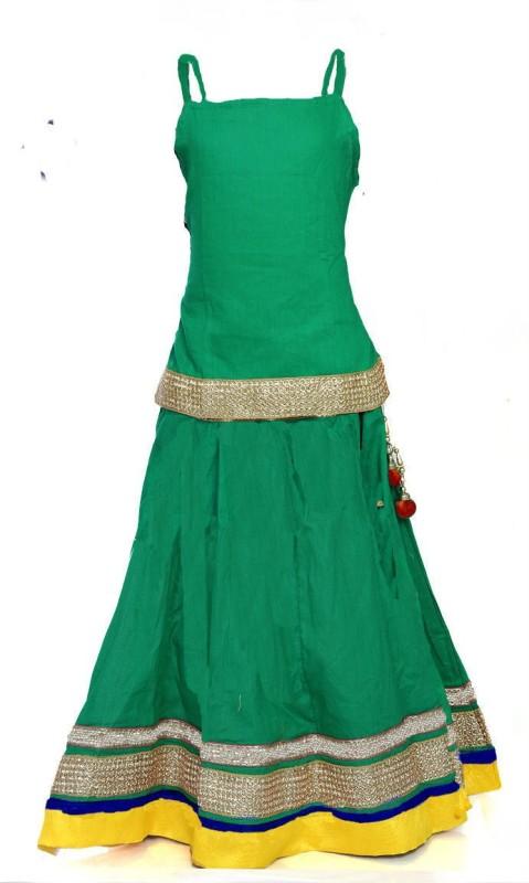 Little Pocket Store Girls Lehenga Choli Ethnic Wear Embellished Lehenga Choli(Green, Pack...
