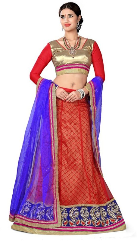 Manvaa Embroidered Lehenga, Choli and Dupatta Set(Red)