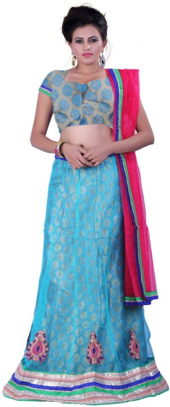 Sonika Embroidered Lehenga, Choli and Dupatta Set(Blue)