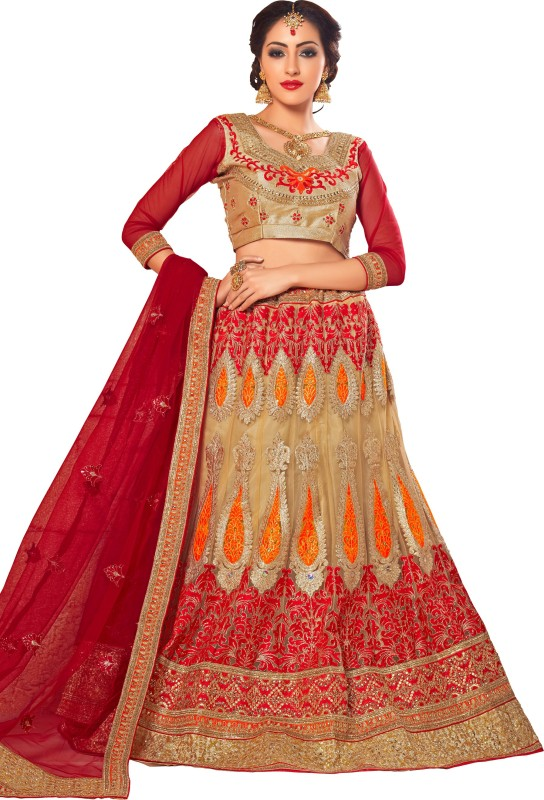 Aasvaa Embroidered Lehenga, Choli and Dupatta Set(Beige)