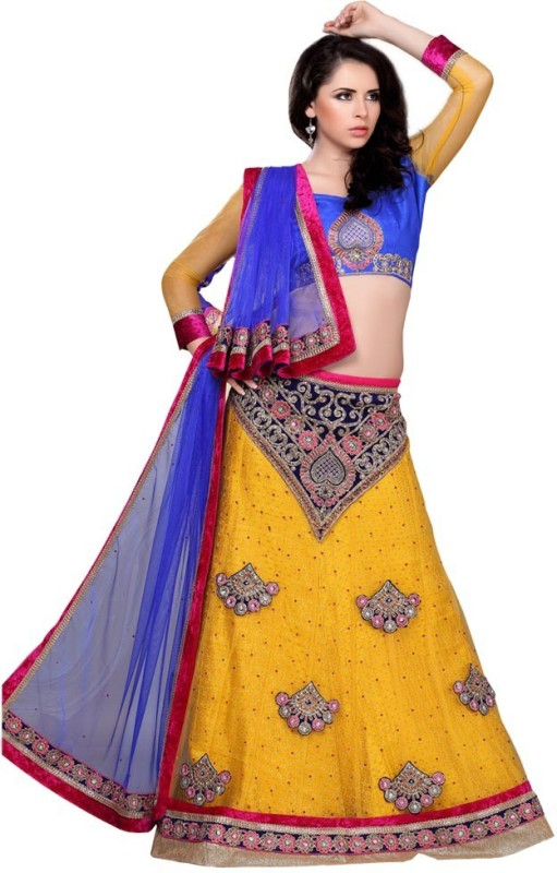 Manvaa Embroidered Lehenga, Choli and Dupatta Set(Yellow)