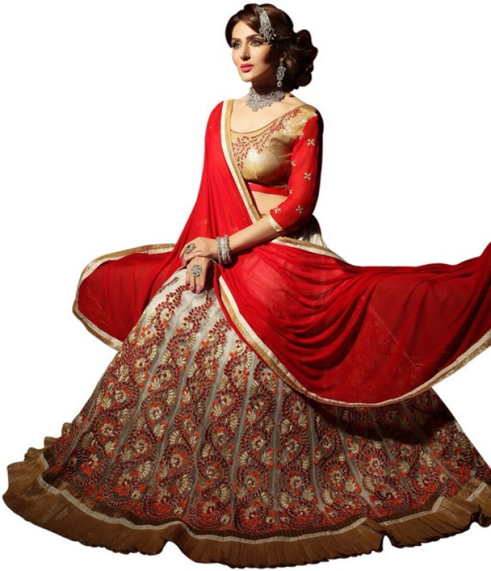 Styles Closet Embroidered Lehenga, Choli and Dupatta Set(Multicolor)