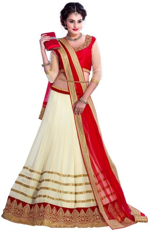 DilseShop Net Embroidered Lehenga Choli Material(Un-stitched)