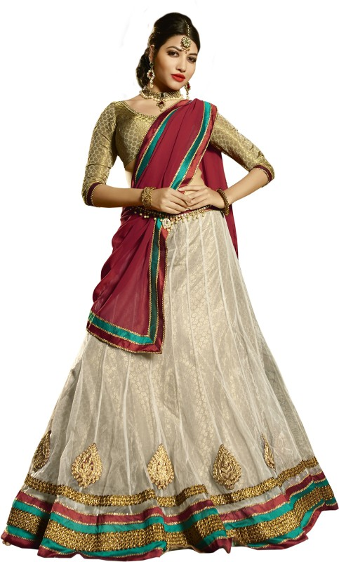 Kanheyas Embroidered Lehenga, Choli and Dupatta Set(White)