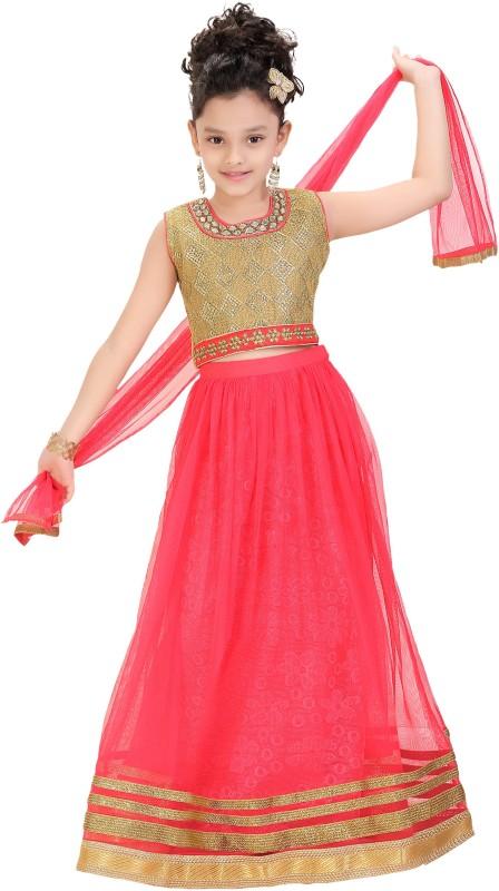 Trendyy Girls Girls Lehenga Choli Ethnic Wear Self Design Lehenga Choli(Red, Pack...