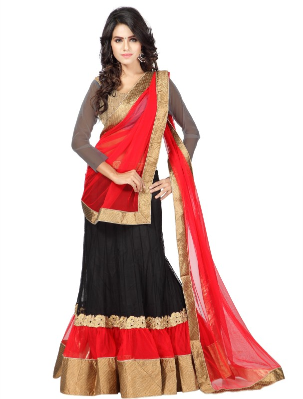 Riddhi Siddhi Embroidered Lehenga Choli(Black)