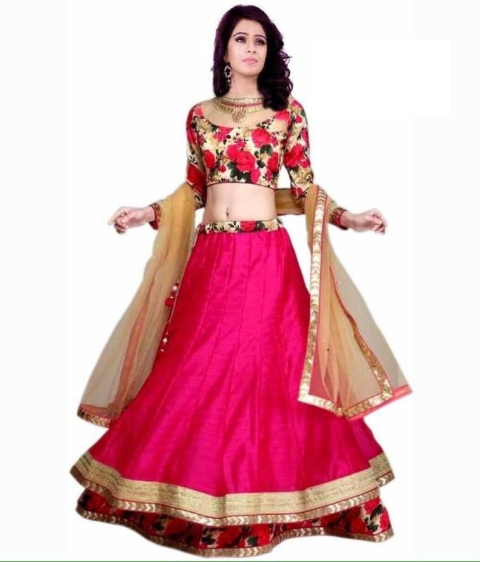Nena Fashion Floral Print Ghagra, Choli, Dupatta Set(Pink)