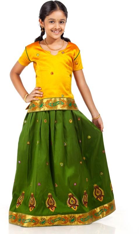 Kanakadara Girls Lehenga Choli Ethnic Wear Self Design Lehenga Choli(Multicolor, Pack of...