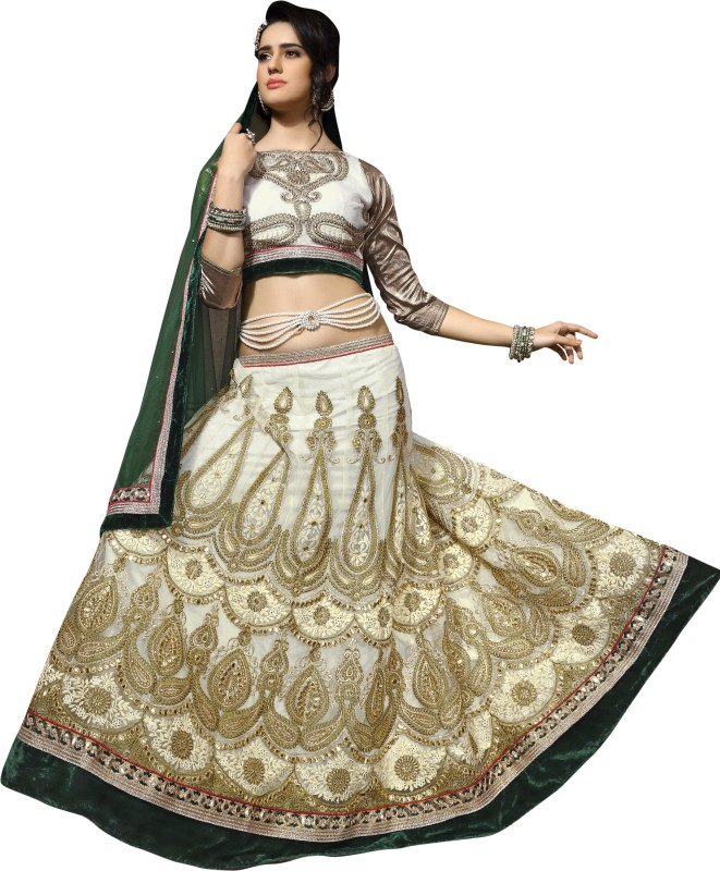 Aasvaa Embroidered Lehenga, Choli and Dupatta Set(White)