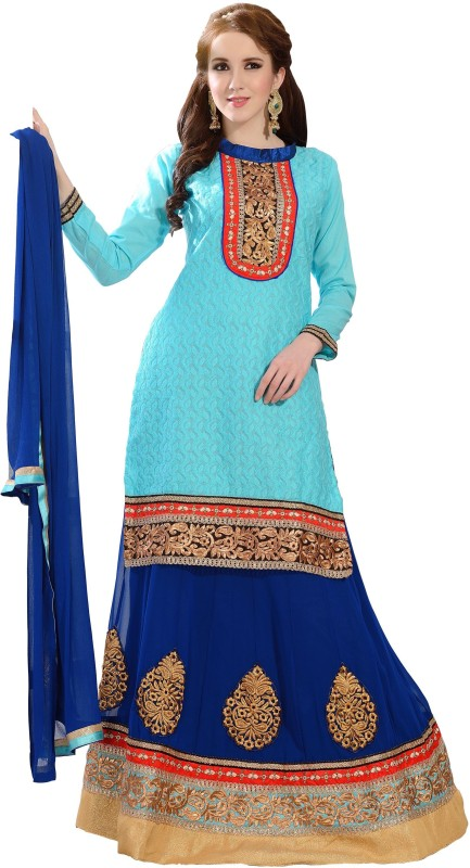 Florence Embroidered Lehenga, Choli and Dupatta Set(Blue)