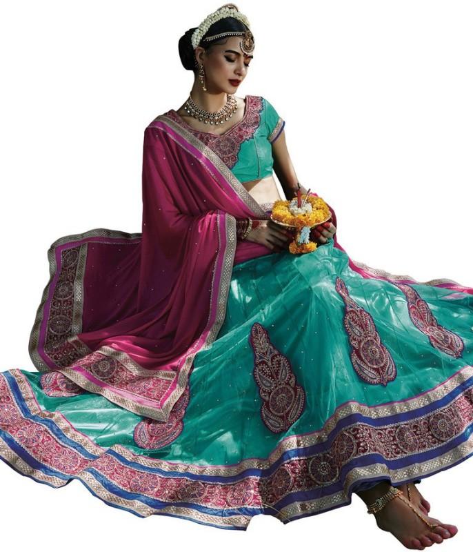 Yosshita & Neha Embroidered Women's(Blue, Size: Free)