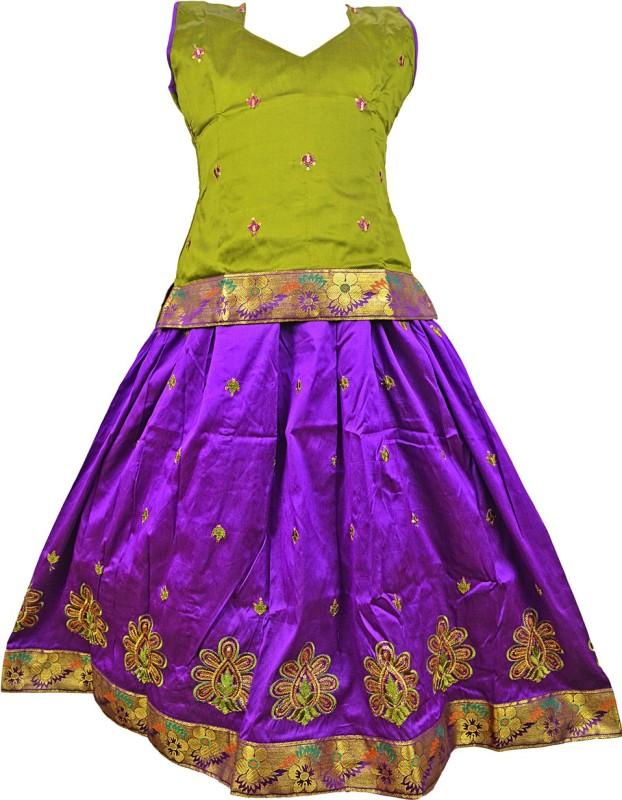 Kanakadara Girls Lehenga Choli Fusion Wear Self Design Lehenga Choli(Multicolor, Pack of...