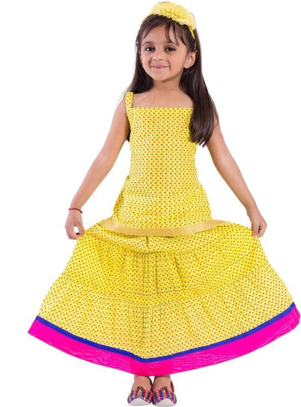 Decot Paradise Girls Lehenga Choli Fusion Wear Polka Print Lehenga Choli(Multicolor, Pack of 1)