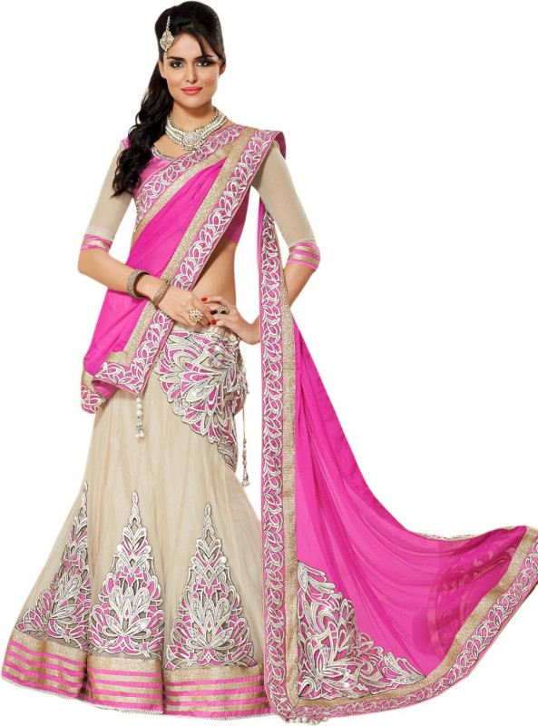 Apka Apna Fashion Embroidered Lehenga, Choli and Dupatta Set(Pink)
